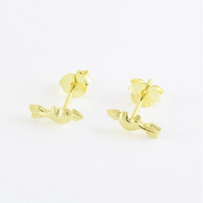 Gold Cupid Heart Studs