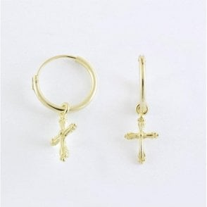 Gold Dangly Cross Hoop Earrings