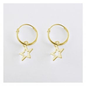Gold Dangly Cut Out Star Hoop Earrings