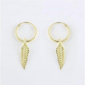 Gold Dangly Feather Hoop Earrings