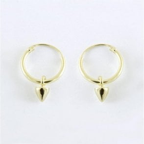 Gold Dangly Spike Hoop Earrings