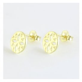 Gold Decorative Cut Out Round Stud
