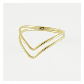 Gold Double V Ring