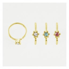 Gold Gem Set Twist Ring
