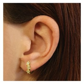 Gold Gemset Star Hoop Earrings