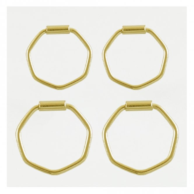 Gold Hexagon Hoop Earrings 10-12mm