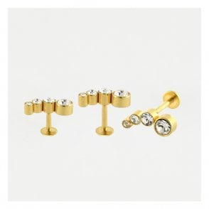 Gold Multi Gemset Labret