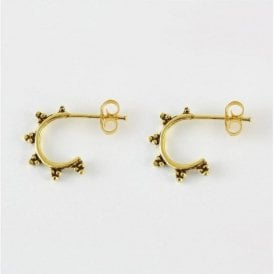 Gold Ornate Half Hoop Stud