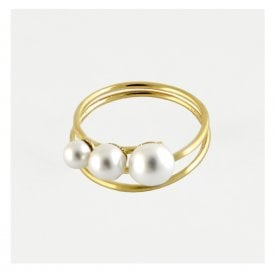 Gold Pearl Coil Ring
