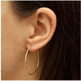 Gold Plain Hoop Earrings - 35mm