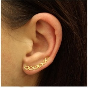 Gold Plated Hearts Ear Crawler