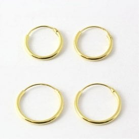 Gold Plated Hoop Earrings 8 - 14mm