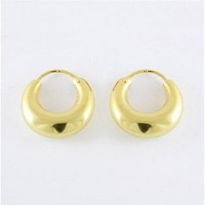 Gold Rounded Hoop Earrings - 14mm