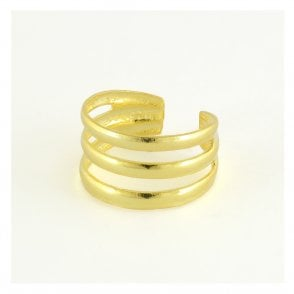 Gold Three Band Toe Ring
