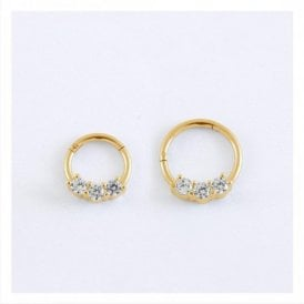 Gold Triple Gem Hinged Segment Ring - 1.2mm