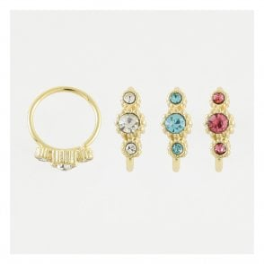 Gold Triple Gem Set Twist Ring