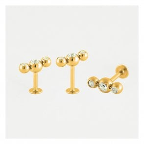 Gold Triple Round Gemset Labret