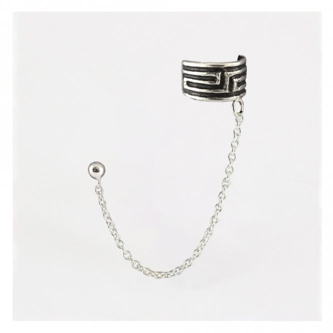 Greek Key Ear Cuff with Chain