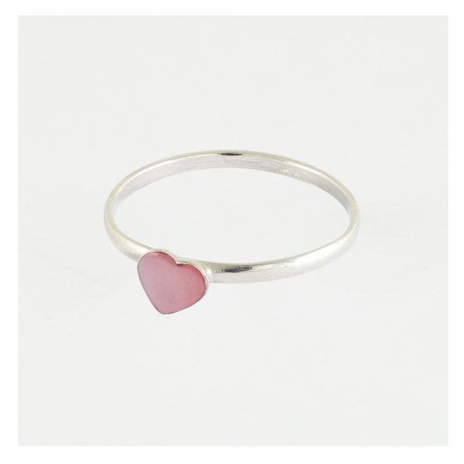 Heart Ring Set with Rose Stone