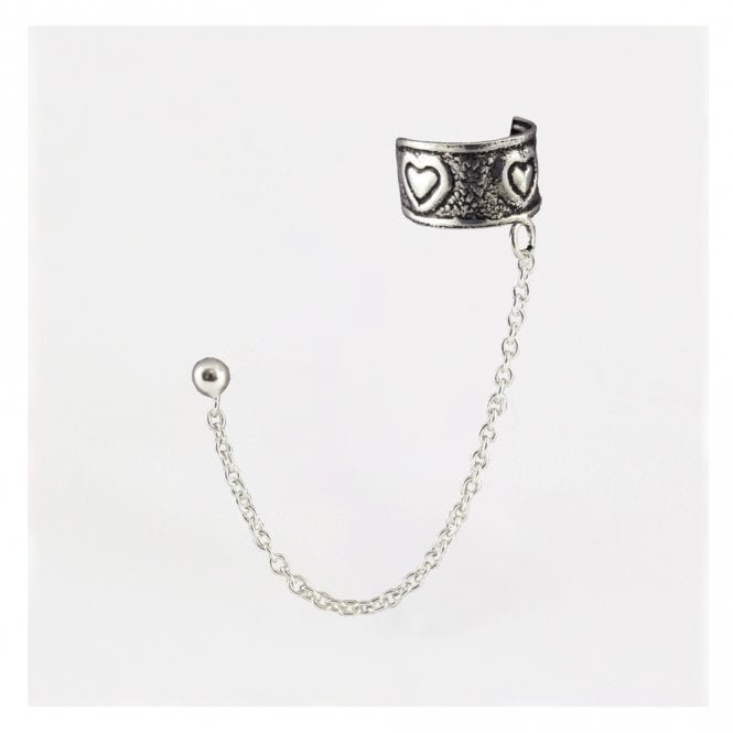 Hearts Ear Cuff with Chain