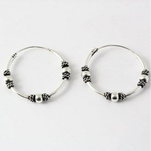 Indonesian Hoop Earrings with Beads -18mm