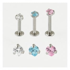 Internally Threaded Claw Set Heart Jewelled Labret