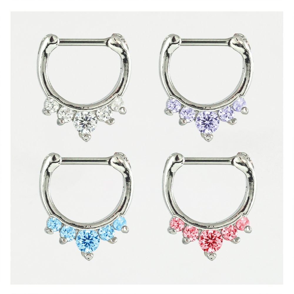 Jewelled Septum Clicker 1 2mm Body Jewellery From Kingsley Ryan Uk