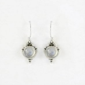 7mm Round Rainbow Moonstone Earrings