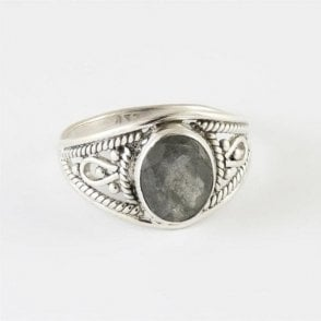 Ava Faceted Oval Labradorite Ring