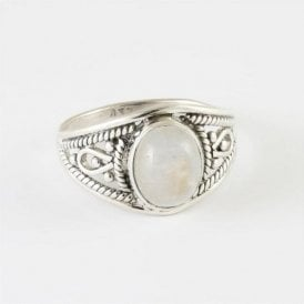Ava Oval Rainbow Moonstone Ring