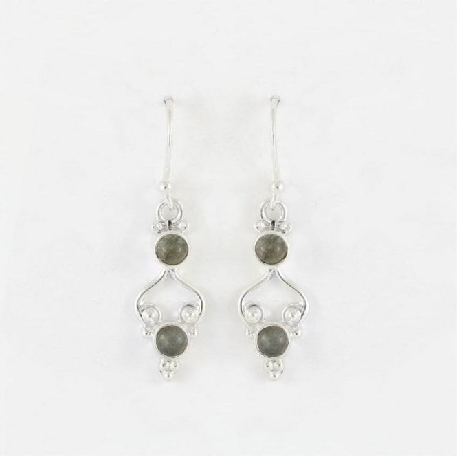Jo Bali Earrings with 4mm Round Labradorite Stones
