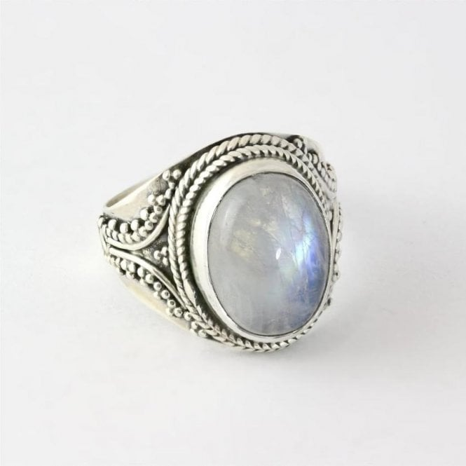 Jo Bali Large Oval Moonstone Ring