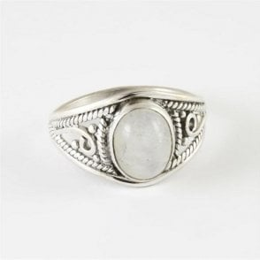 Mia Oval Rainbow Moonstone Ring