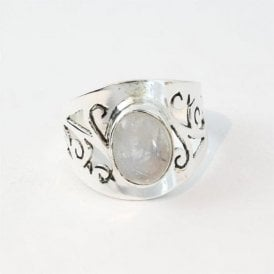 Ornate Rainbow Moonstone Ring