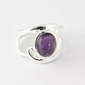 Oval Amethyst Swirl Ring
