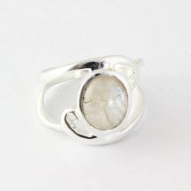 Oval Moonstone Swirl Ring
