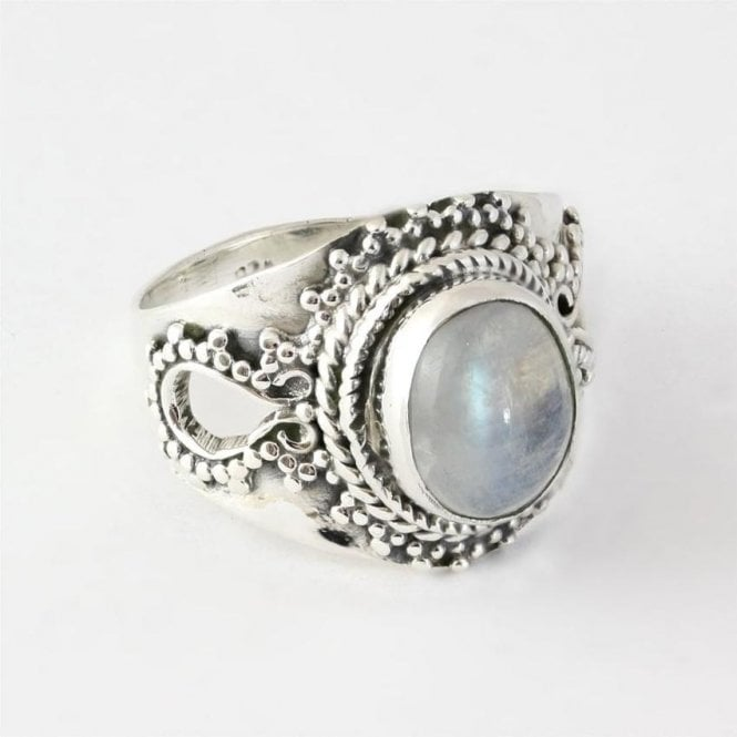Jo Bali Oval Rainbow Moonstone Ring
