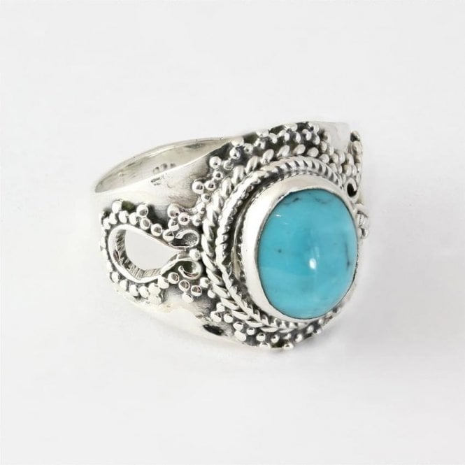 Jo Bali Oval Turquoise Ring