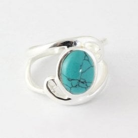 Oval Turquoise Swirl Ring