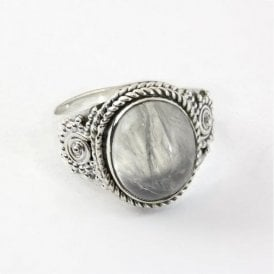 Round Rainbow Moonstone Ring