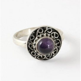 Small Round Amethyst Ring