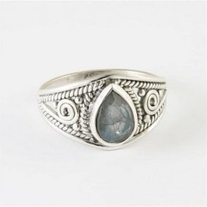 Teardrop Faceted Labradorite Ring