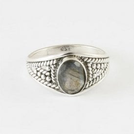 Zinna Faceted Oval Labradorite Ring