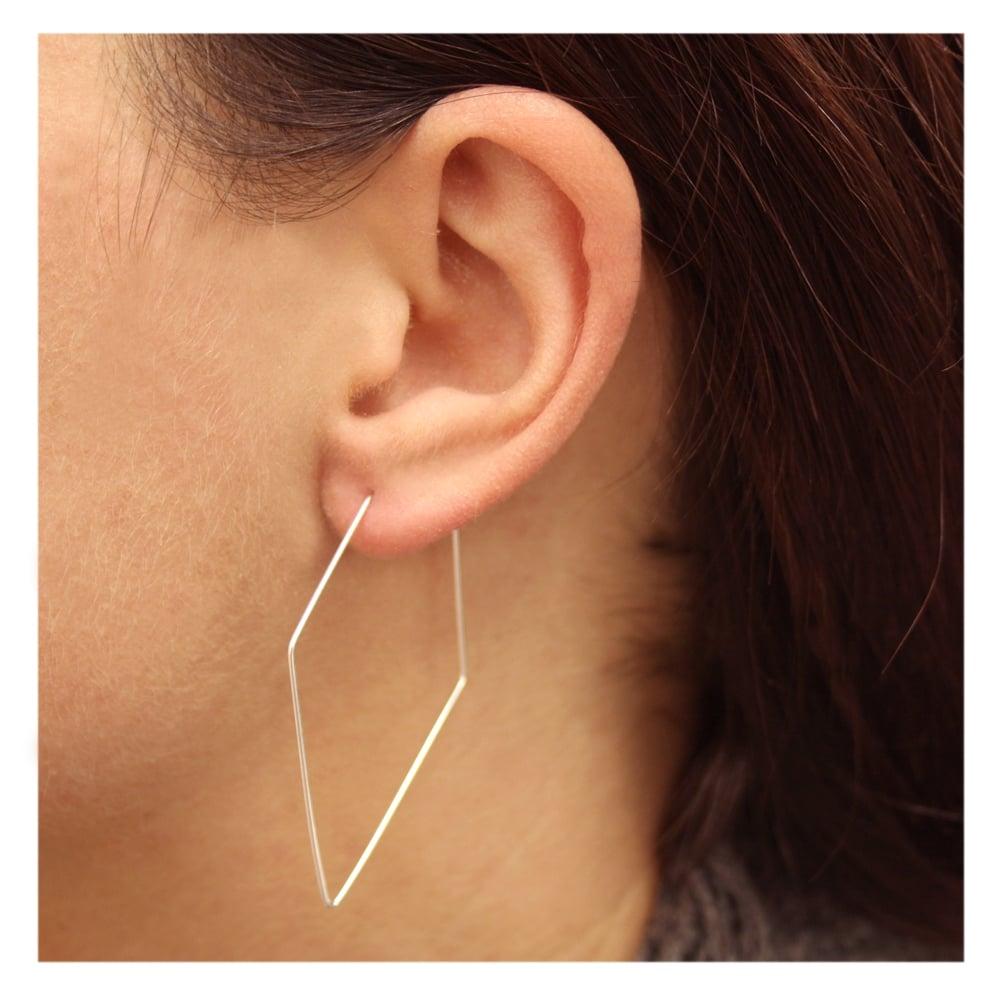 028128611 Large Diamond Hoop Earrings - 36mm - from Kingsley Ryan UK
