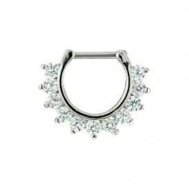 Multi Gem Jewelled Septum Ring 1.2mm
