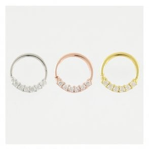 Multi Gem Set Twist Ring
