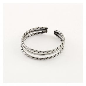 Oxidised Triple Twisted Toe Ring