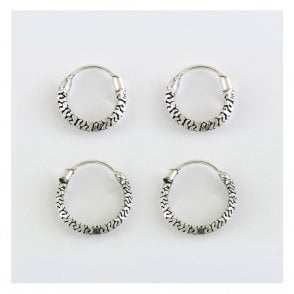 Patterned Hoop Earrings 10-12mm