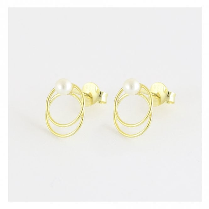 Pearl Double Gold Hoop Studs