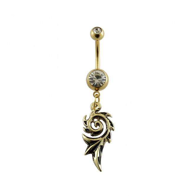 PVD Gold Plated Tribal Belly Bar